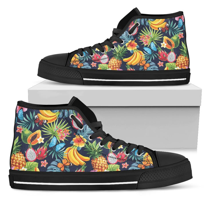 Aloha Tropical Fruits Pattern Print Men's High Top Shoes GearFrost