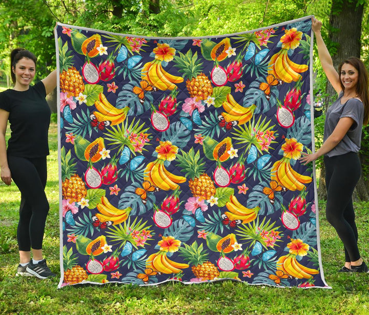Aloha Tropical Fruits Pattern Print Quilt GearFrost