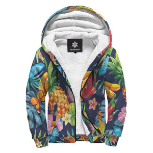 Aloha Tropical Fruits Pattern Print Sherpa Lined Fleece Hoodie GearFrost