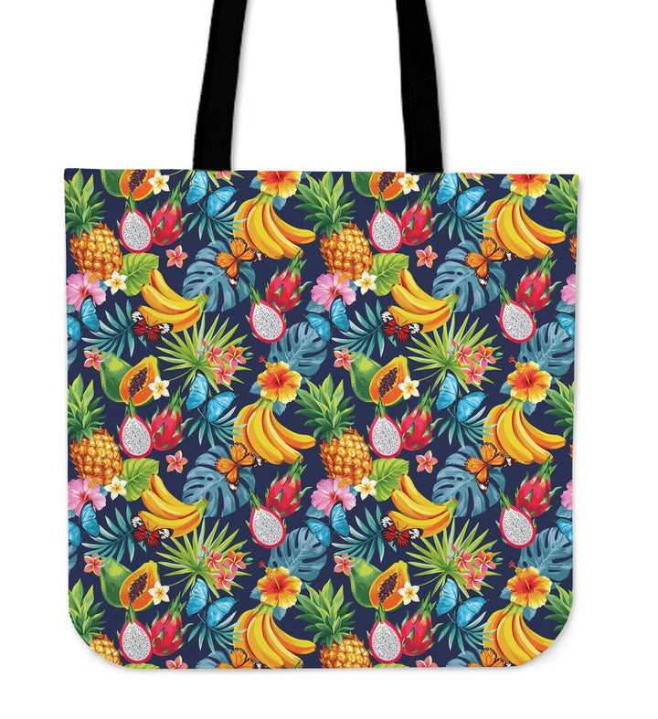 Aloha Tropical Fruits Pattern Print Tote Bag GearFrost