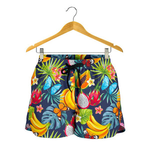 Aloha Tropical Fruits Pattern Print Women's Shorts GearFrost