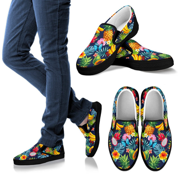 Aloha Tropical Fruits Pattern Print Women's Slip On Shoes GearFrost