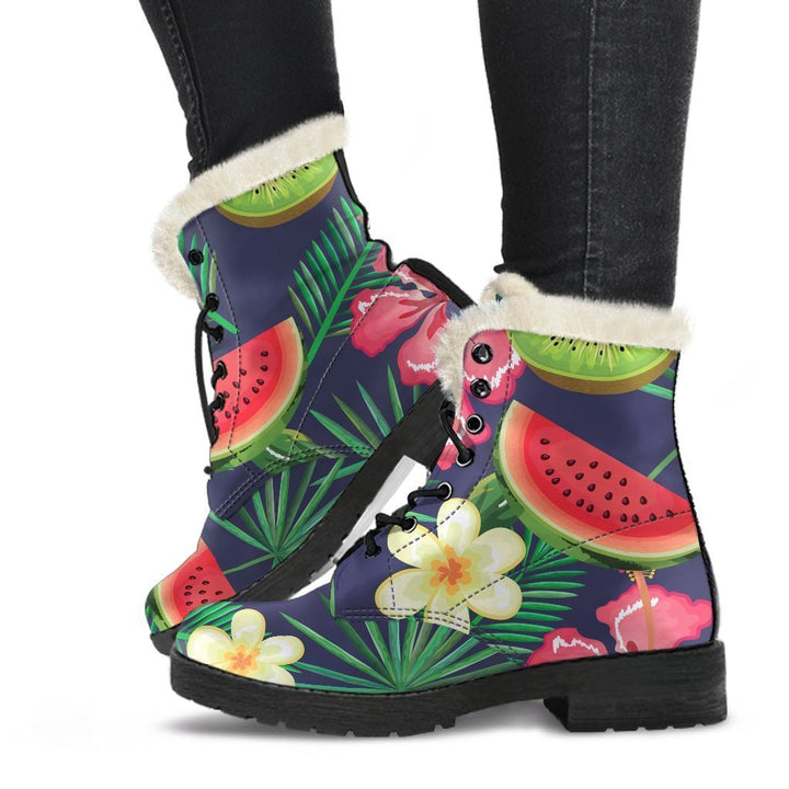 Aloha Tropical Watermelon Pattern Print Comfy Boots GearFrost