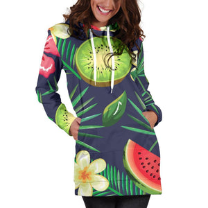Aloha Tropical Watermelon Pattern Print Hoodie Dress GearFrost