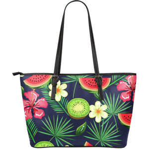 Aloha Tropical Watermelon Pattern Print Leather Tote Bag GearFrost