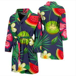 Aloha Tropical Watermelon Pattern Print Men's Bathrobe GearFrost
