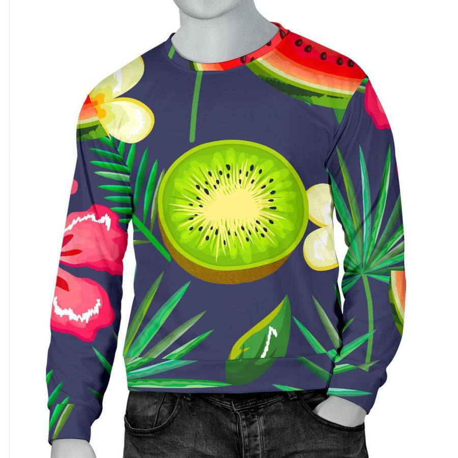 Aloha Tropical Watermelon Pattern Print Men's Crewneck Sweatshirt GearFrost
