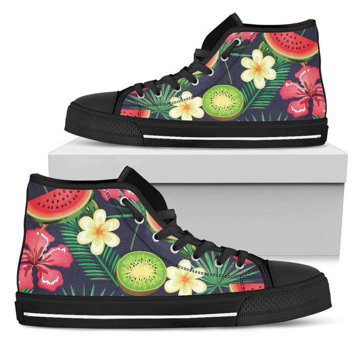 Aloha Tropical Watermelon Pattern Print Men's High Top Shoes GearFrost
