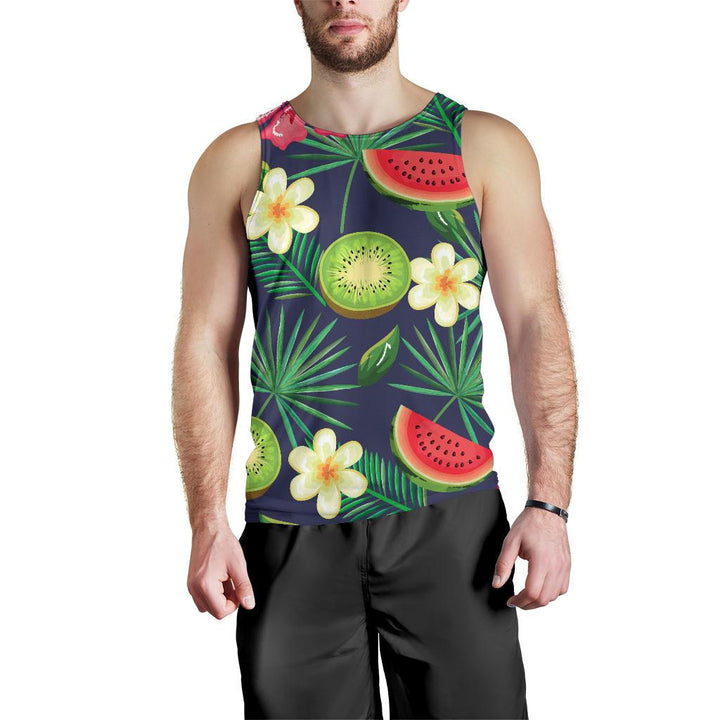 Aloha Tropical Watermelon Pattern Print Men's Tank Top GearFrost
