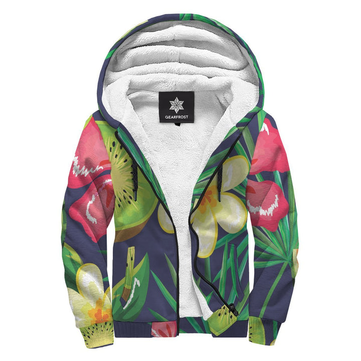 Aloha Tropical Watermelon Pattern Print Sherpa Lined Fleece Hoodie GearFrost