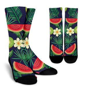 Aloha Tropical Watermelon Pattern Print Unisex Crew Socks GearFrost