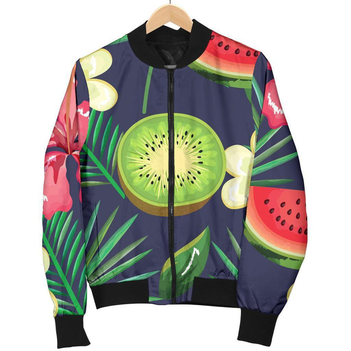 Aloha Tropical Watermelon Pattern Print Women's Bomber Jacket GearFrost