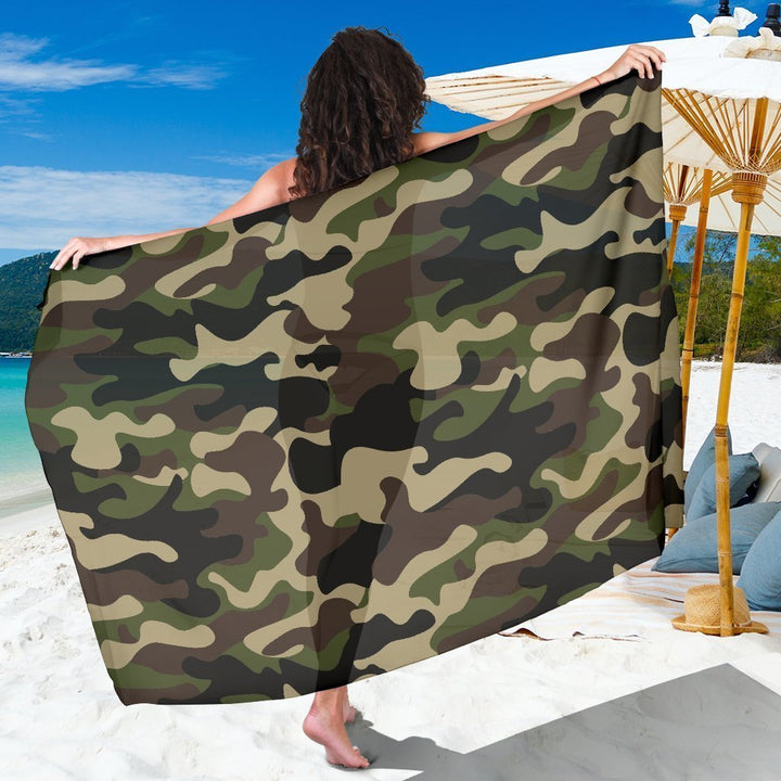 Army Green Camouflage Print Beach Sarong Wrap GearFrost