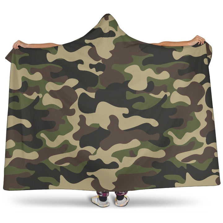 Army Green Camouflage Print Hooded Blanket GearFrost