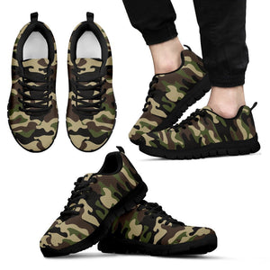 Army Green Camouflage Print Men's Sneakers GearFrost