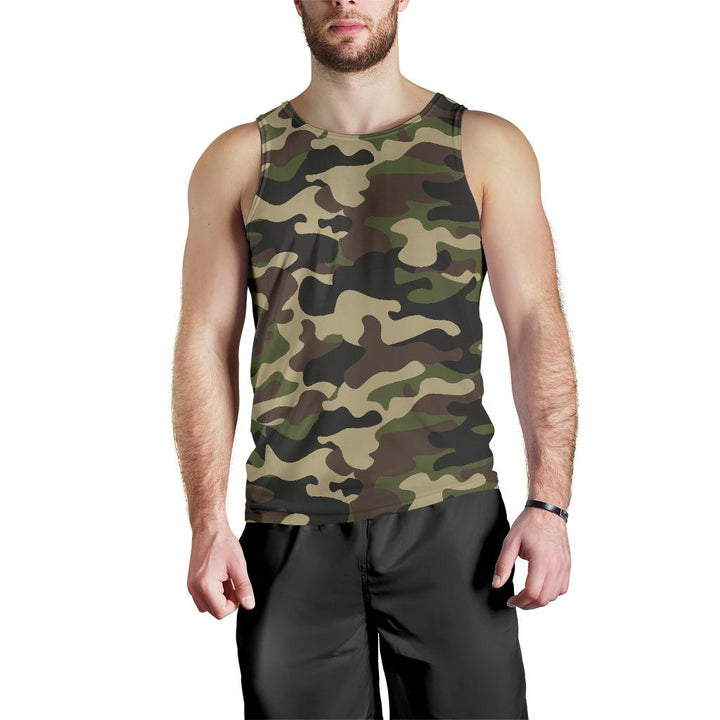 Army Green Camouflage Print Men's Tank Top GearFrost