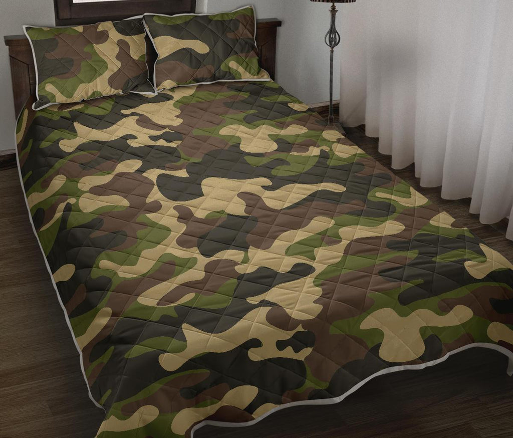 Army Green Camouflage Print Quilt Bed Set GearFrost