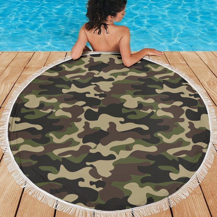 Army Green Camouflage Print Round Beach Blanket GearFrost