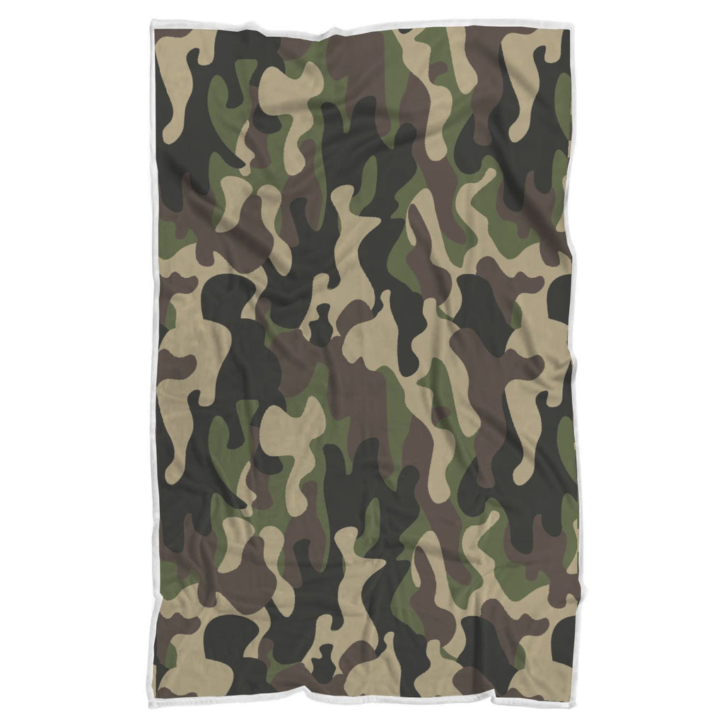 Army Green Camouflage Print Sherpa Blanket GearFrost
