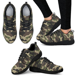 Army Green Camouflage Print Women's Athletic Shoes GearFrost