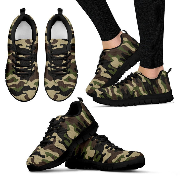 Army Green Camouflage Print Women's Sneakers GearFrost