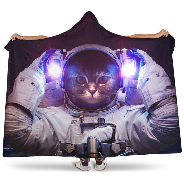 Astronaut Space Cat Print Hooded Blanket GearFrost