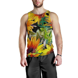 Autumn Sunflower Pattern Print Men's Tank Top GearFrost