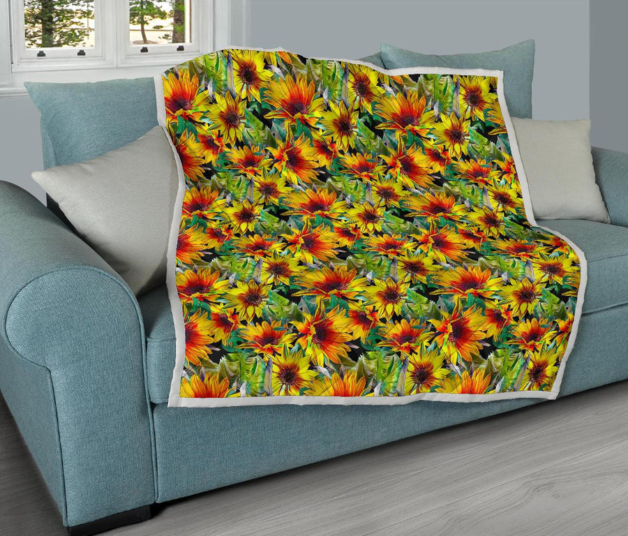Autumn Sunflower Pattern Print Quilt GearFrost