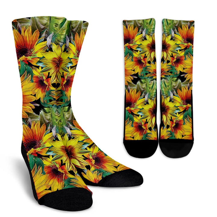 Autumn Sunflower Pattern Print Unisex Crew Socks GearFrost