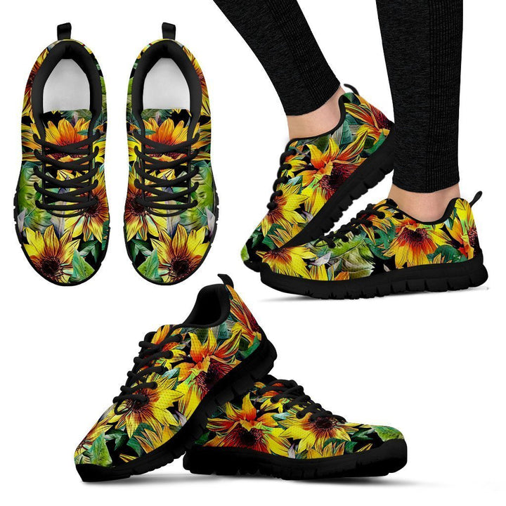 Autumn Sunflower Pattern Print Women's Sneakers GearFrost