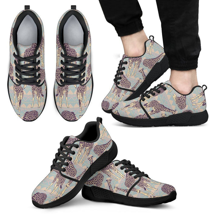 Aztec Giraffe Pattern Print Men's Athletic Shoes GearFrost