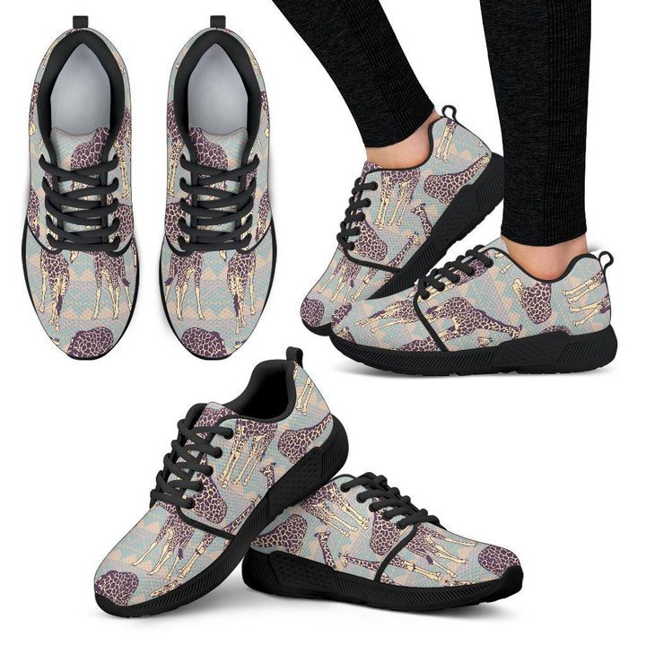 Aztec Giraffe Pattern Print Women's Athletic Shoes GearFrost