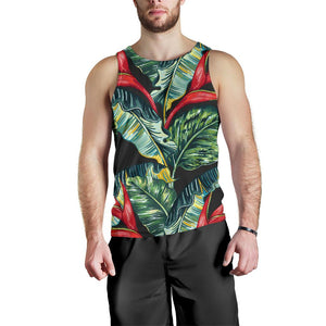 Banana Leaf Hawaiian Pattern Print Men's Tank Top GearFrost