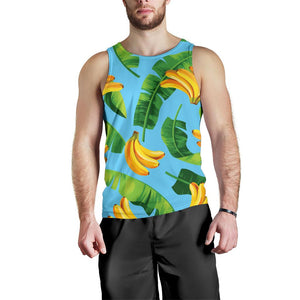 Banana Leaf Pattern Print Men's Tank Top GearFrost