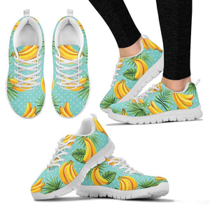 Banana Palm Leaf Pattern Print Women's Sneakers GearFrost
