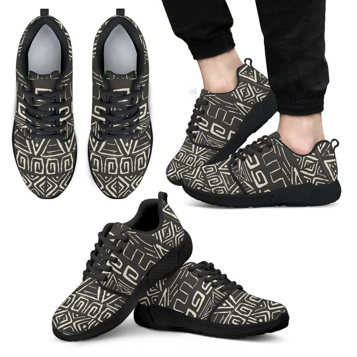 Beige Aztec Pattern Print Men's Athletic Shoes GearFrost