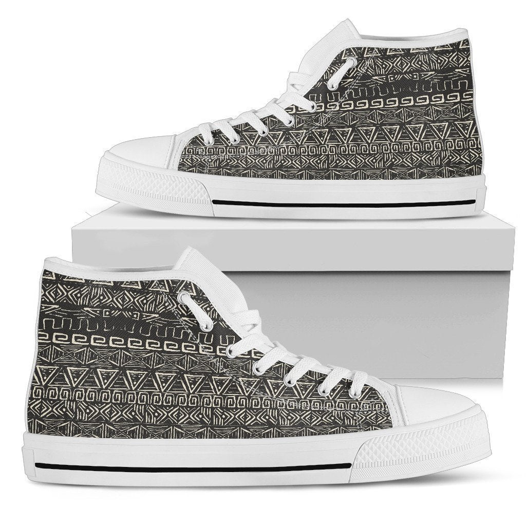 Beige Aztec Pattern Print Men's High Top Shoes GearFrost