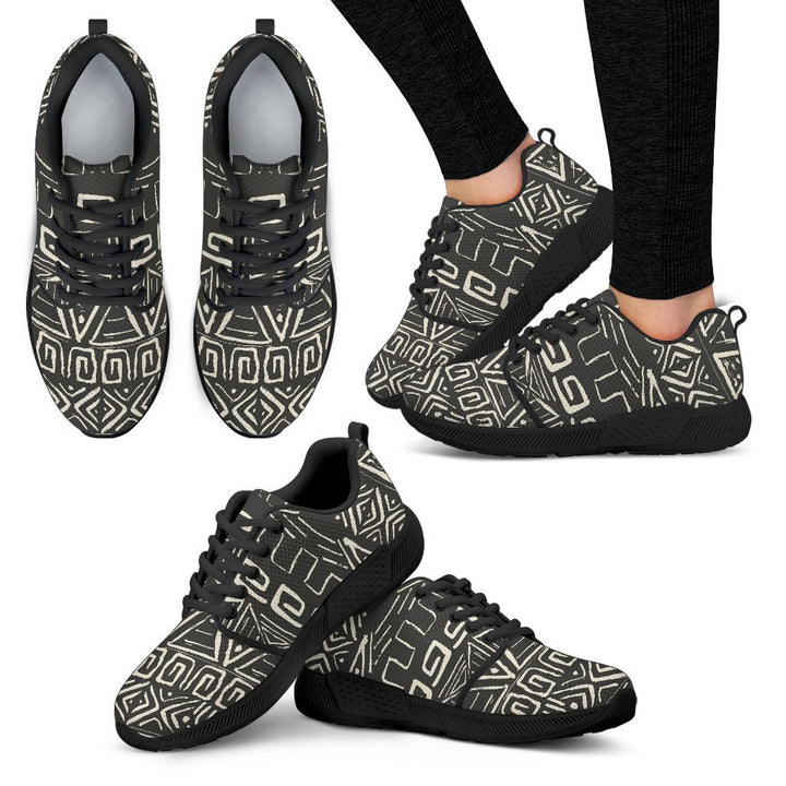 Beige Aztec Pattern Print Women's Athletic Shoes GearFrost