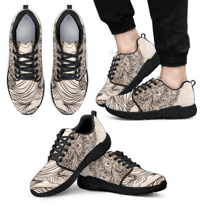 Beige Buddha Mandala Print Men's Athletic Shoes GearFrost