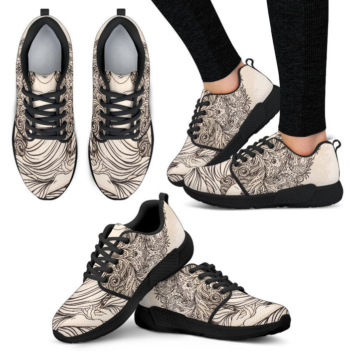 Beige Buddha Mandala Print Women's Athletic Shoes GearFrost
