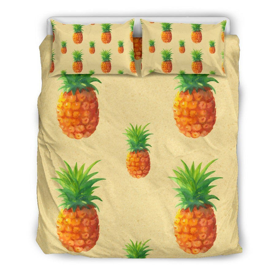 Beige Watercolor Pineapple Pattern Print Duvet Cover Bedding Set GearFrost