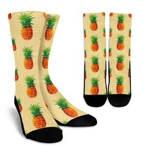 Beige Watercolor Pineapple Pattern Print Unisex Crew Socks GearFrost
