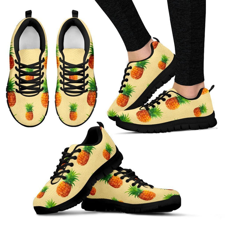 Beige Watercolor Pineapple Pattern Print Women's Sneakers GearFrost