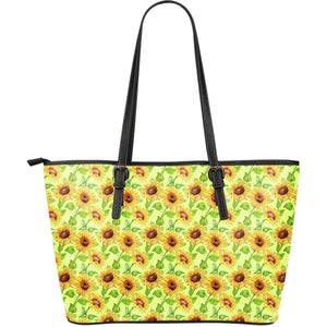 Beige Watercolor Sunflower Pattern Print Leather Tote Bag