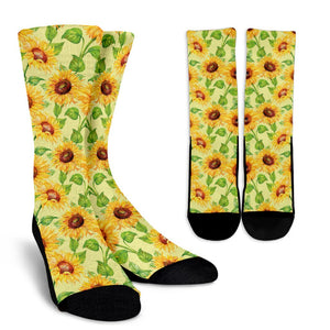 Beige Watercolor Sunflower Pattern Print Unisex Crew Socks GearFrost