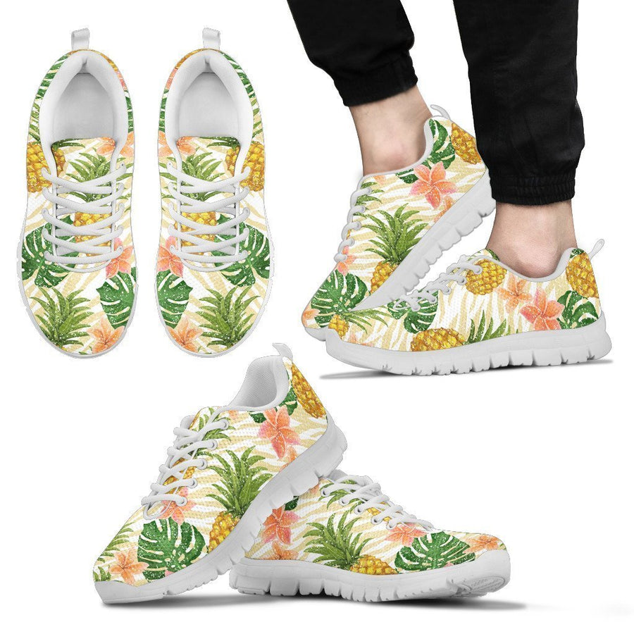 Beige Zebra Pineapple Pattern Print Men's Sneakers GearFrost
