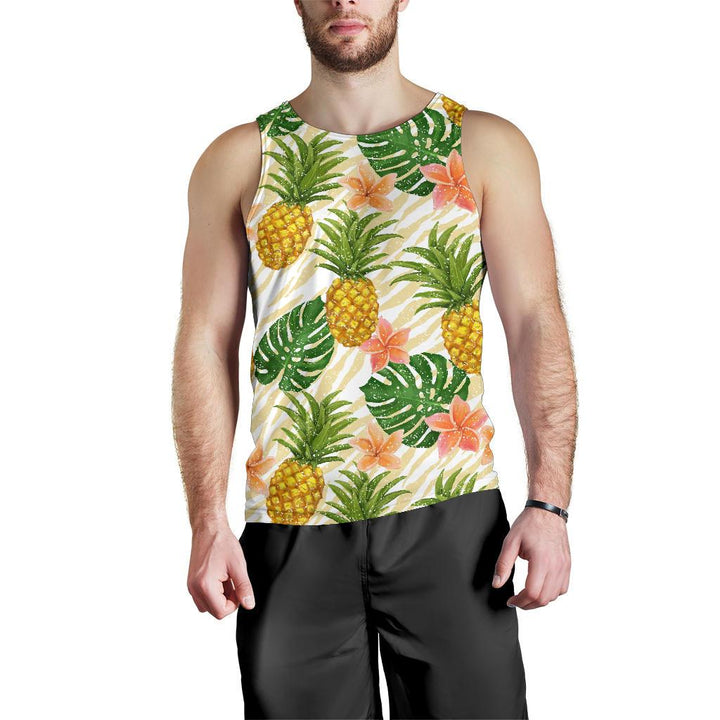Beige Zebra Pineapple Pattern Print Men's Tank Top GearFrost