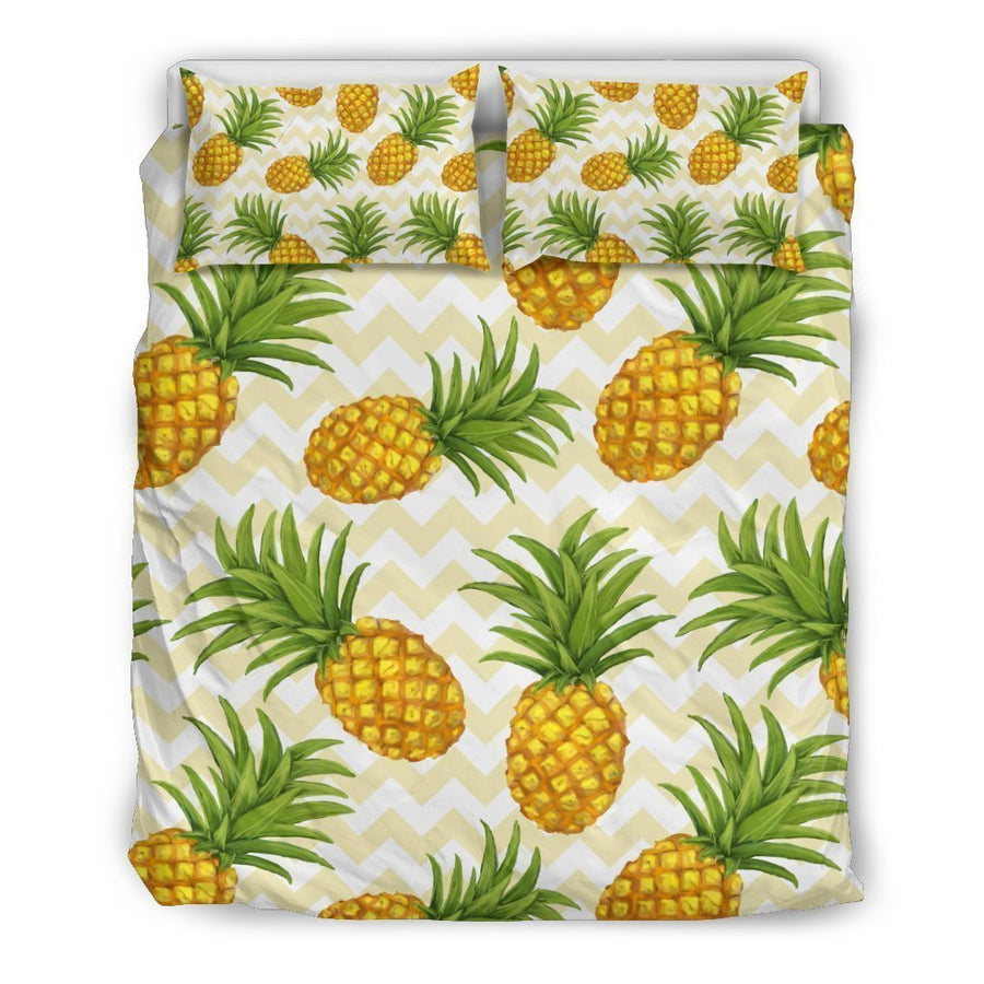 Beige Zig Zag Pineapple Pattern Print Duvet Cover Bedding Set GearFrost