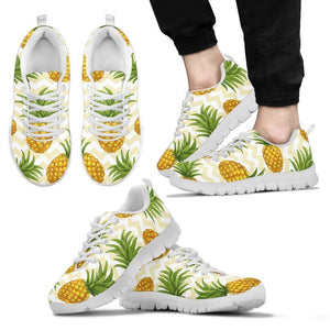 Beige Zig Zag Pineapple Pattern Print Men's Sneakers GearFrost