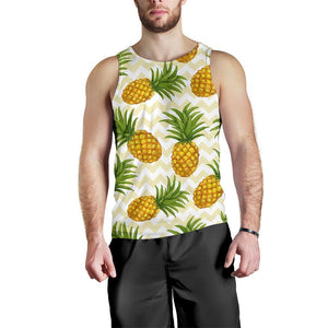Beige Zig Zag Pineapple Pattern Print Men's Tank Top GearFrost
